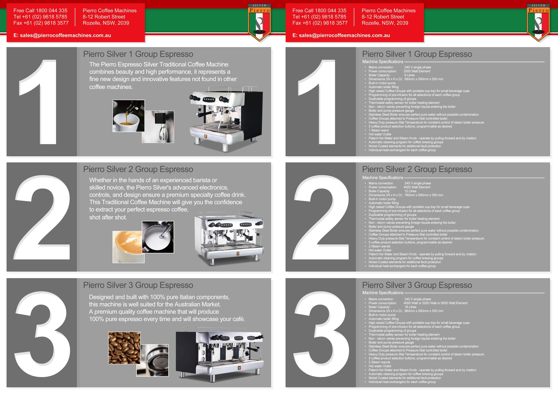 Silver espresso coffee machine